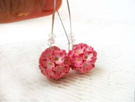 FIMO DIY tutorial earrings – cascade of flowers
