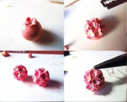 DYI Fimo hydrangeas flower tutorial