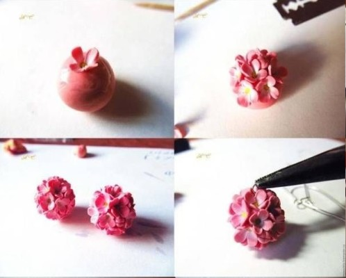 DYI Fimo hydrangeas flower tutorial