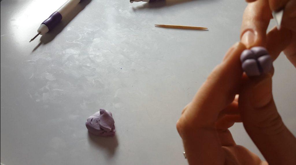 Polymer clay hydrangea flower tutorial - step 2