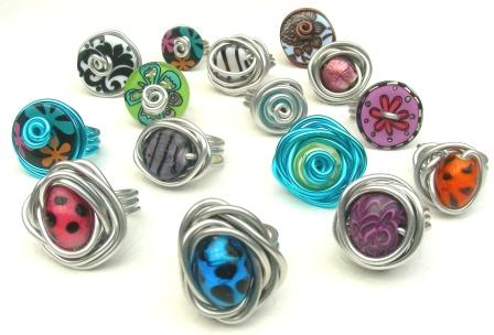 Unique pieces of polymer clay jewelry