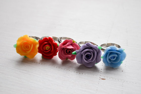 Polymer clay flower ring