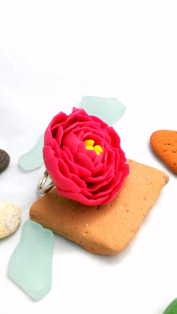 Polymer clay flower ring