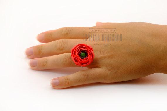 Polymer clay poppy flowers inspired jewelry