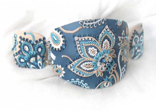 Polymer clay embroidery bracelet