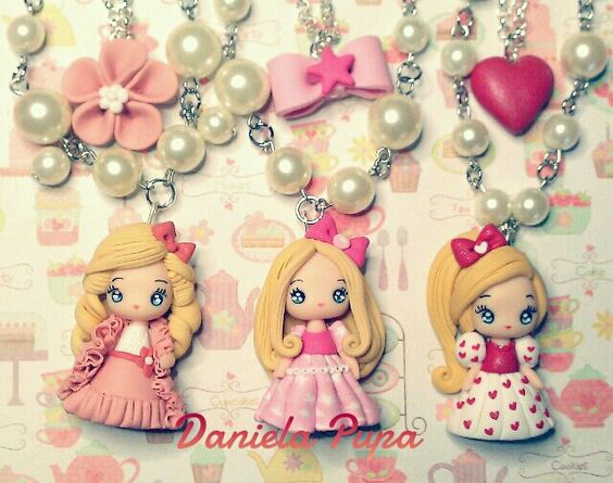 Polymer clay doll pendants