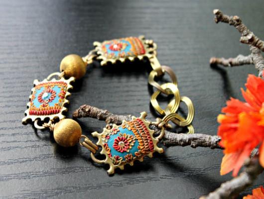 FIMO embroidery bracelet