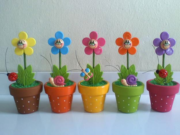 Polymer clay happy flowers