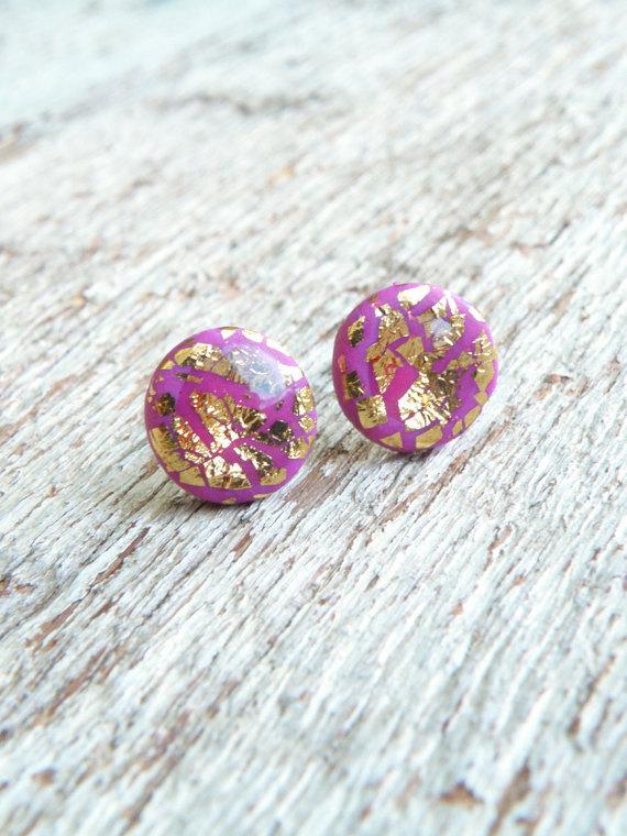 Polymer clay gold leaf stud earrings