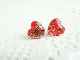 Polymer clay gold or silver leaf stud earrings