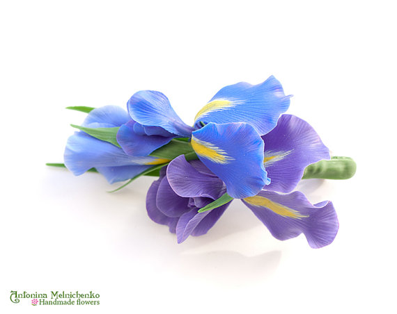 Barrette Iris - Polymer Clay Flowers