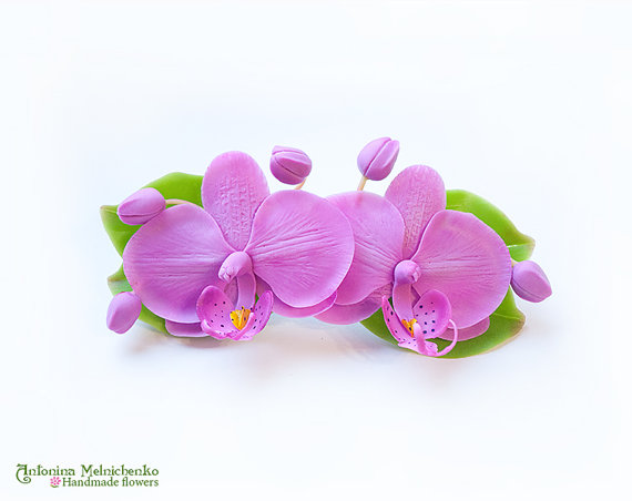 Barrette Orchids - Polymer Clay Flowers