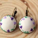 Brown earrings, blue butterfly earrings, Brown blue flower earring, minimalist earrings, blue butterflies blue floral earrings tiny earrings