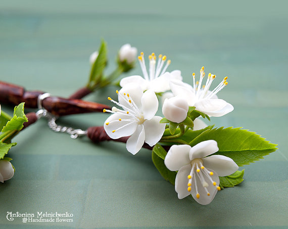 Hair Stick Cherry flowers - Polymer Clay Flowers
