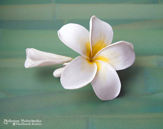 Hair clip Plumeria - Polymer Clay Flowers - Wedding Accessories