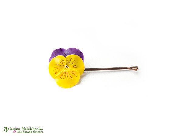 Hair grip Pansy - Polymer Clay Flowers