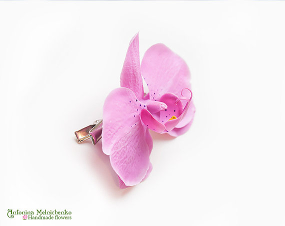 Hairclip Orchid - Polymer Clay Flowers - Mothers Day Gift for Women Gift for Her Wedding Accessories Wedding Hair Clip Bridal Hair Clip