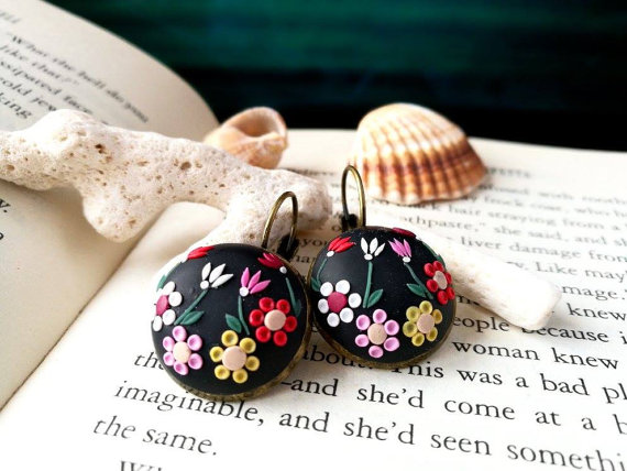Hand embroidered earrings, romantic valentines gift for her, colorful earrings, black flower earrings, polymer clay, gothic, red flower