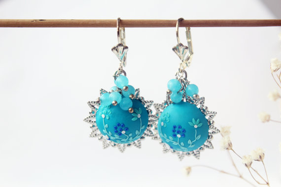 Light blue earrings, blue flower earrings, ocean blue earrings turquoise blue earring blue dangle earrings teal earrings teal floral