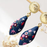 Navy blue earrings, polymer clay, embroidered earrings, blue flower earrings, dark blue, dangle earrings, colorful, romantic earrings, gift
