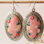 Pink flower earrings, colorful, hand embroidered, romantic earrings, pale pink, blush pink, polymer clay, christmas gift for her, victorian