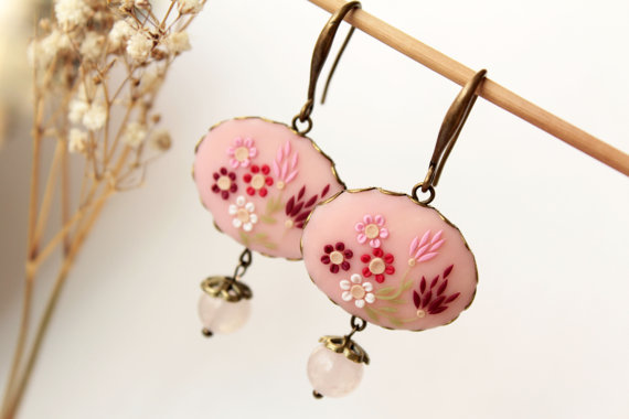 Pink flower earrings, rose quartz earring, red flower earring, polymer clay, colorful earring, embroidered earring, romantic gift, pale pink