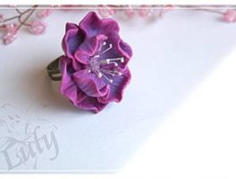 Polymer clay flower ring tutorial