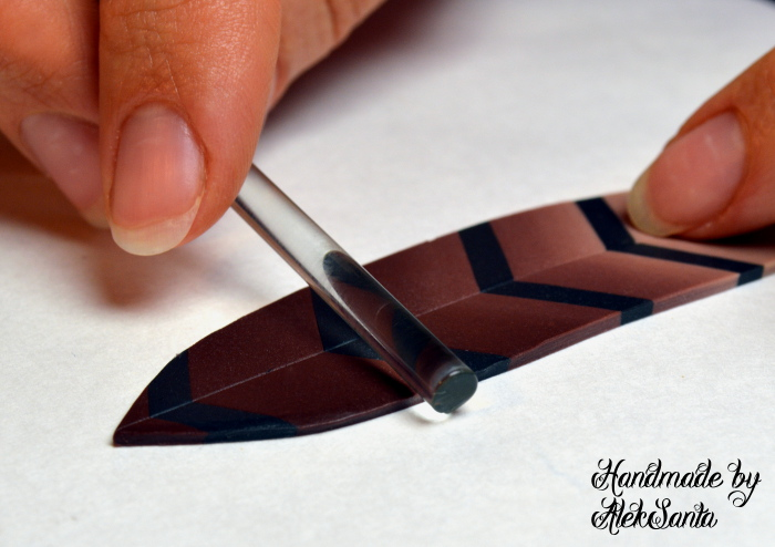 Polymer clay feather tutorial step 10