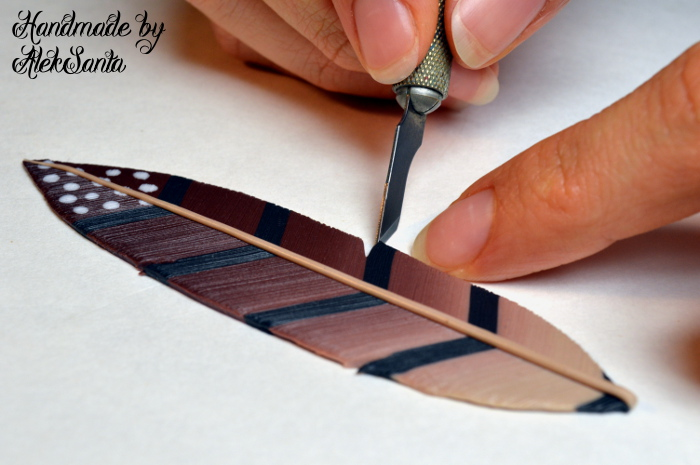Polymer clay feather tutorial