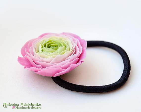 Scrunchy ponytail Ranunculus - Polymer Clay Flowers - Mothers Day Gift for Women Pink Scrunchy Gift For Her Pink Flower For Kids For Girl
