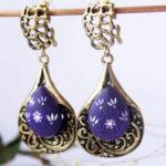 Teal blue earrings, Turquoise earrings, teal blue earrings, blue flower earrings, blue earrings, light blue earrings, dangle earring