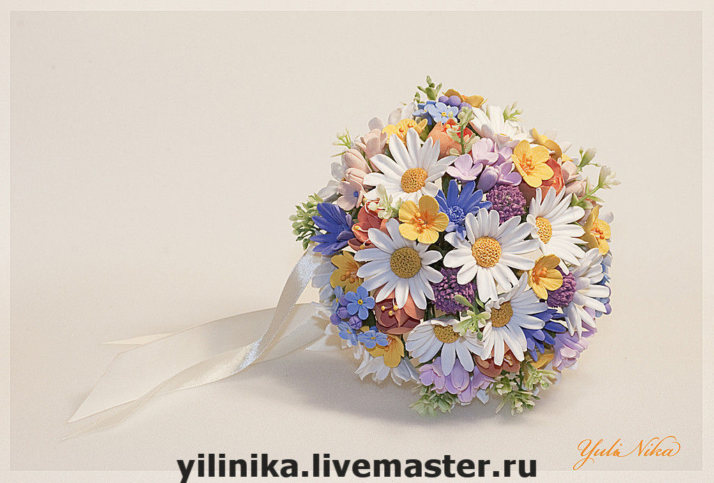 Polymer clay flower bouquets