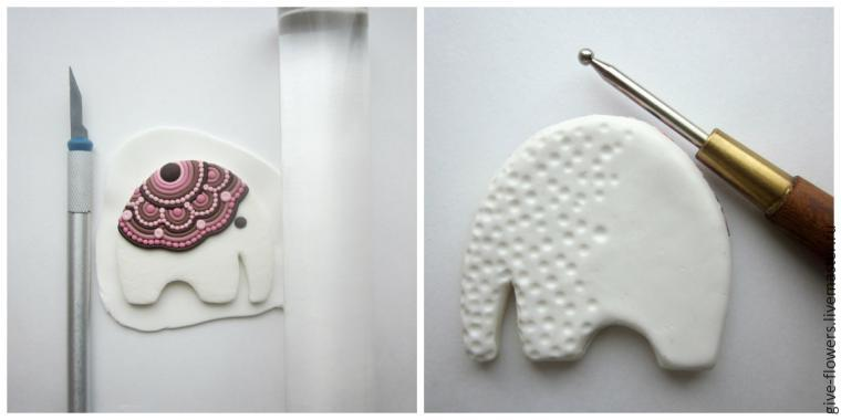 Polymer clay happy elephant brooch tutorial