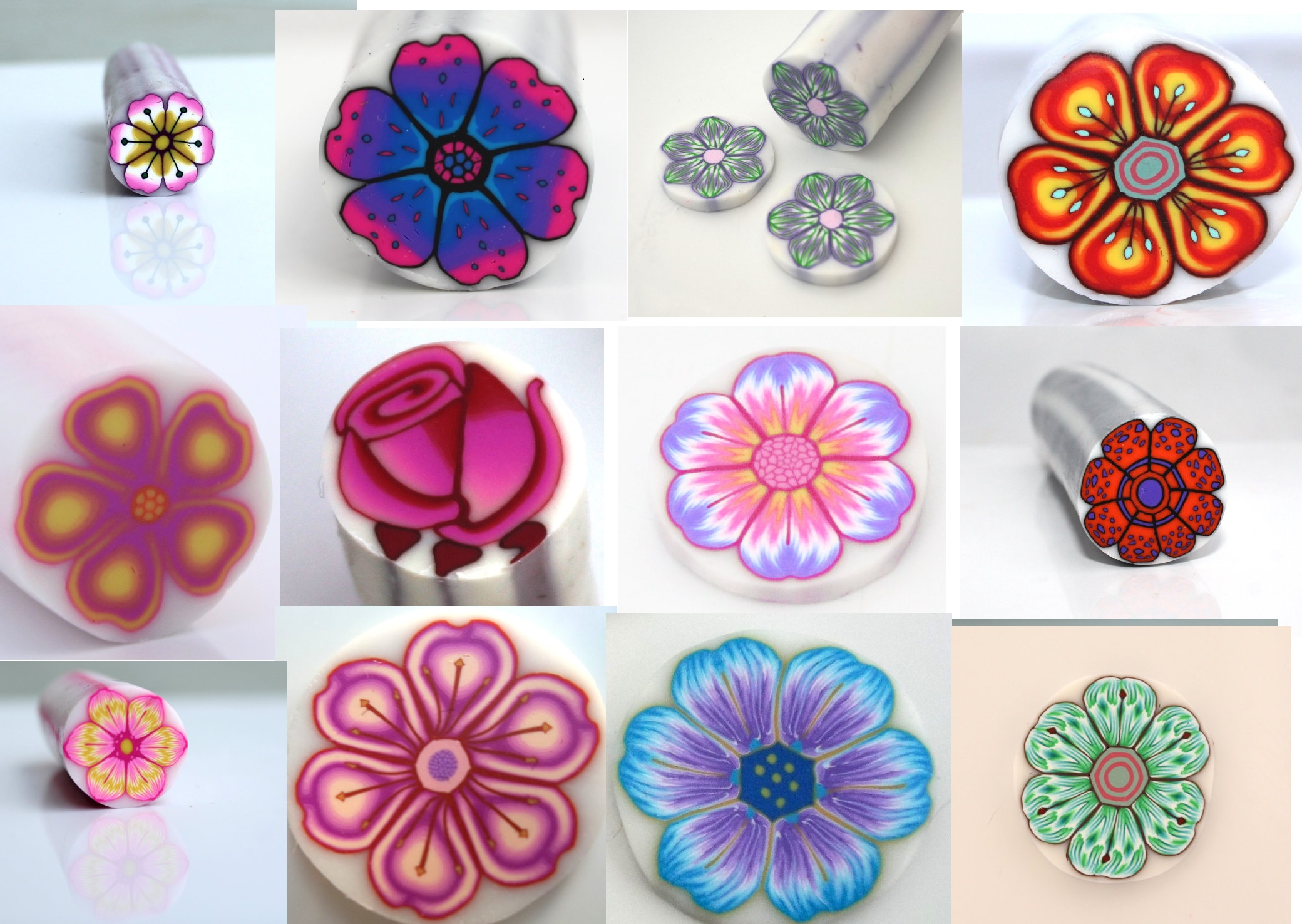 17 polymer clay flower canes to try