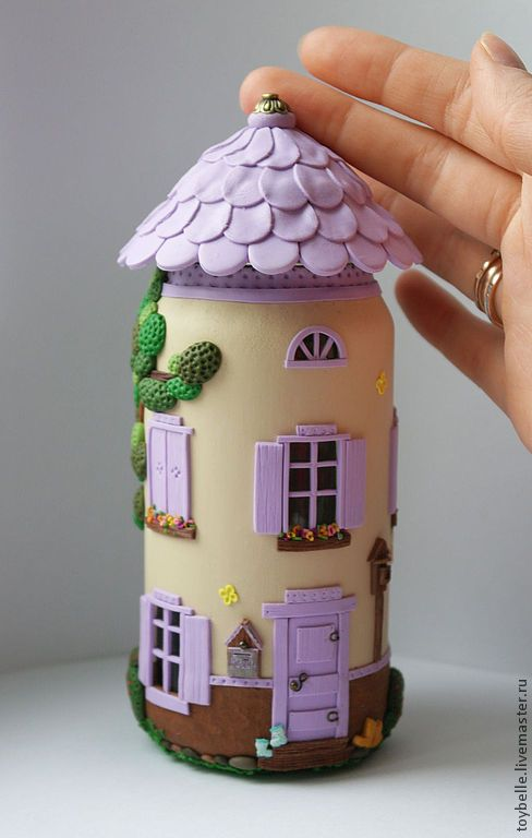 Polymer clay jar fairy house ideas
