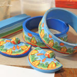 Polymer clay house cane - bracelets coverd in cane