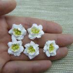 Polymer clay miniature eustoma white flowers