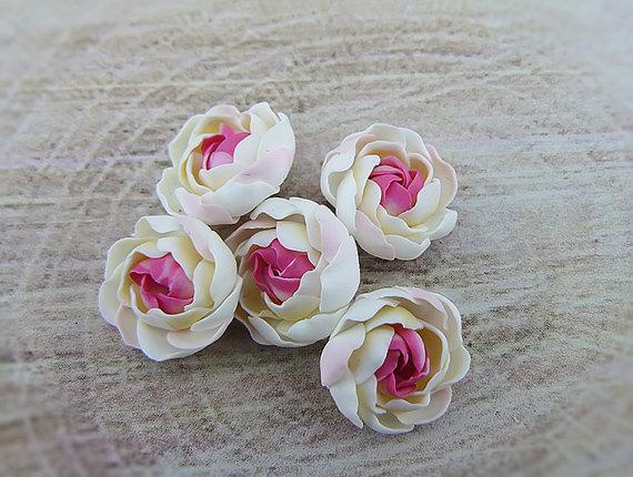 Polymer clay pink ranunculus flowers