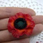 Polymer clay red poppy flower 2