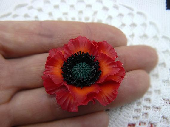 Polymer clay red poppy flower