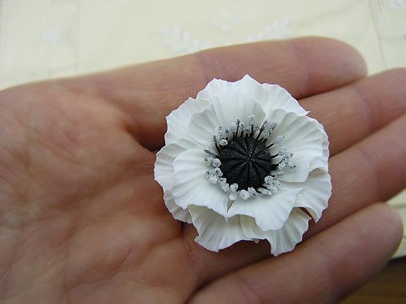 polymer clay white poppy flower