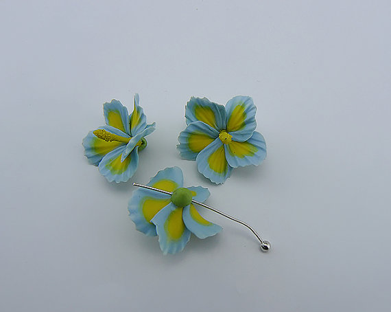 Polymer clay yellow hibiscus flowers