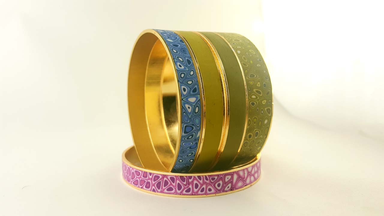 Gorgeous polymer clay canes bracelets and rings for this summer