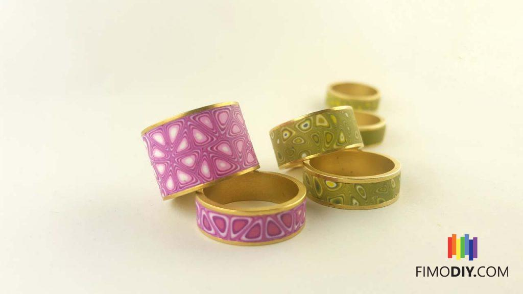 Thin and thick olive, pink and solid olive polymer clay canes rings
