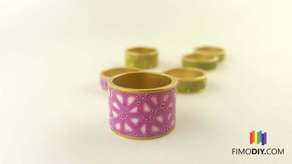 Thick pink polymer clay canes rings