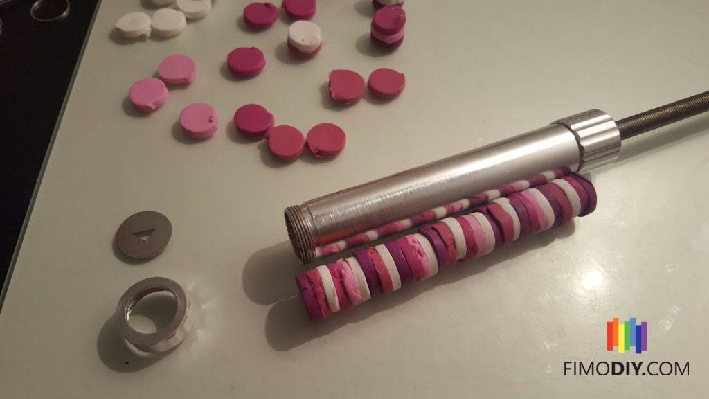 Pink polymer clay - extruder technique