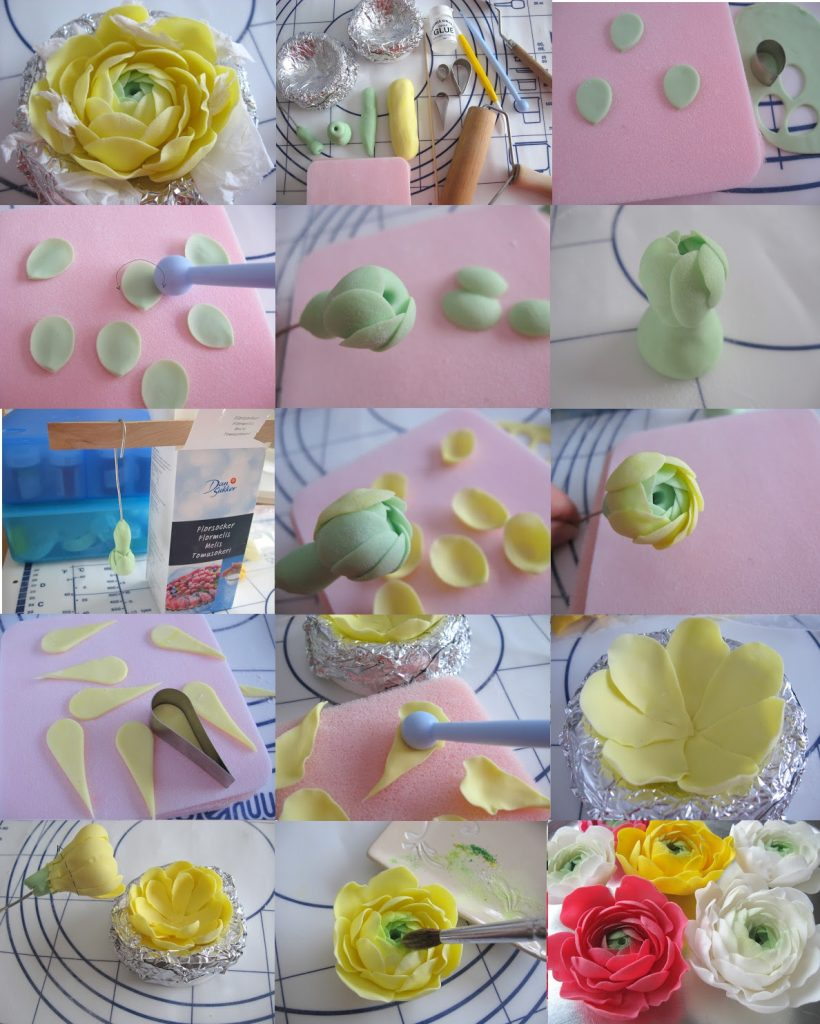 Polymer clay ranunculus asiaticus - tutorial step by step