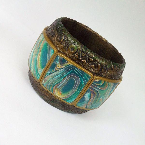 Polymer clay Mokume Gane bracelets ideas to do it yourself