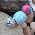 Faux batik beads on string