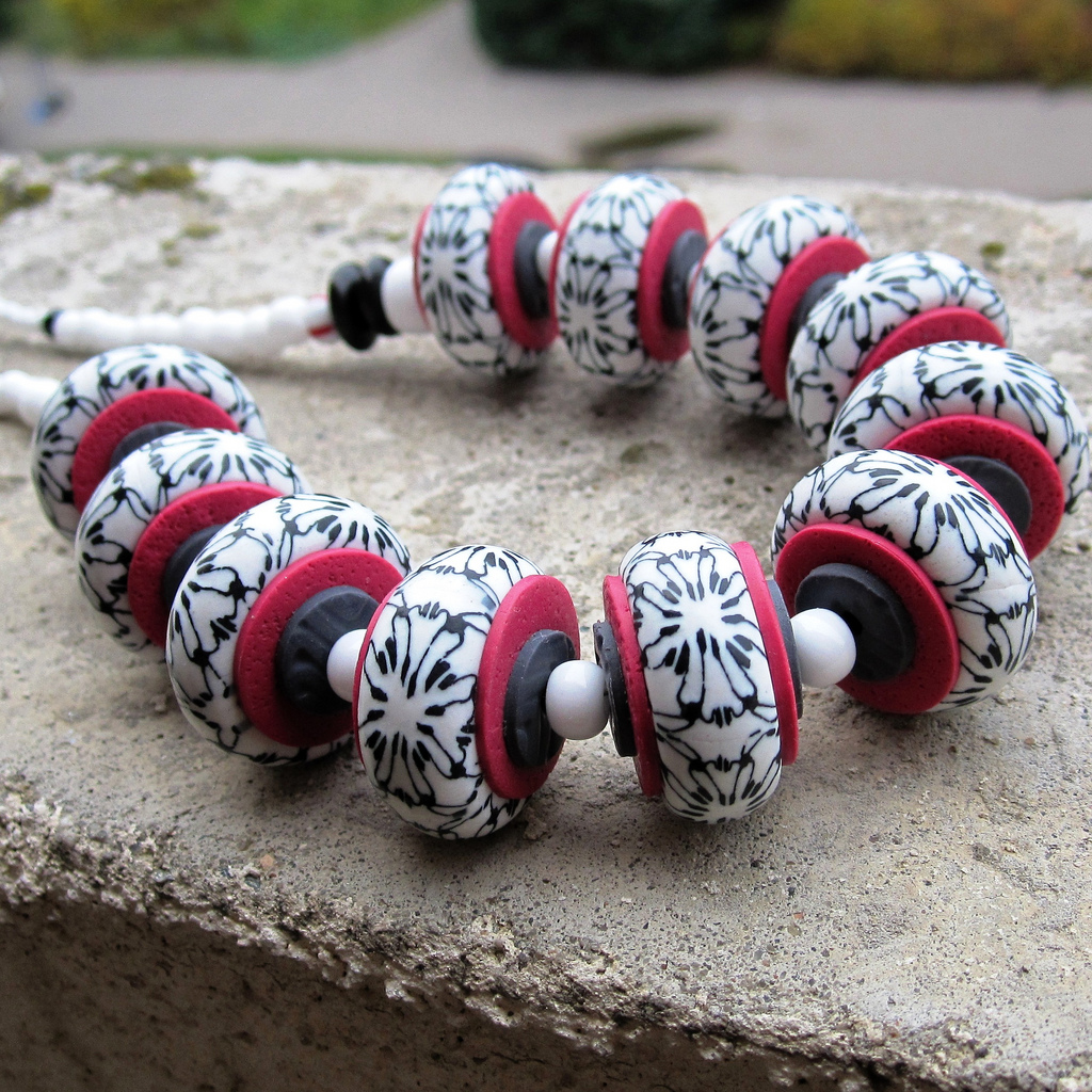 Fimo sanded polished - polymer clay beads